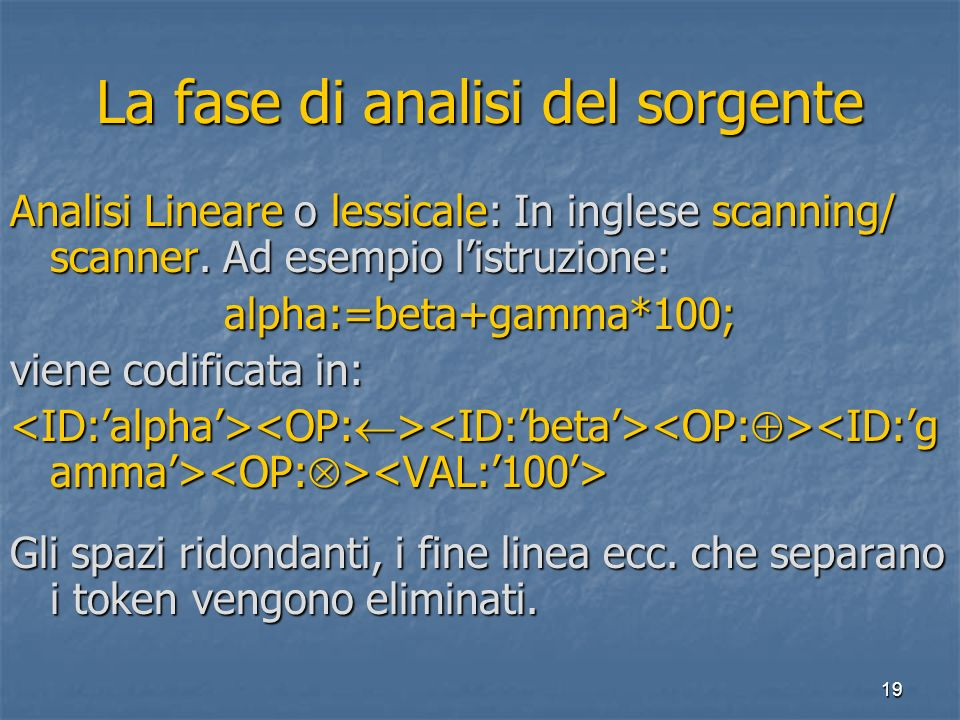 19 La fase di analisi del sorgente Analisi Lineare o lessicale: In inglese scanning/ scanner.