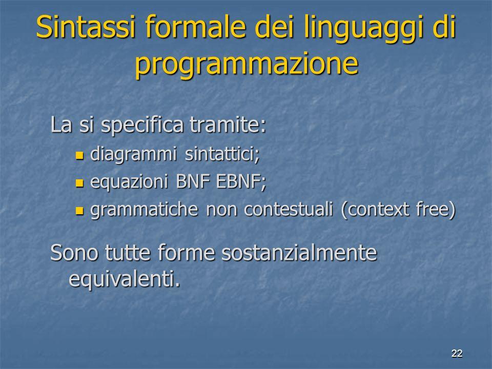 22 Sintassi formale dei linguaggi di programmazione La si specifica tramite: diagrammi sintattici; diagrammi sintattici; equazioni BNF EBNF; equazioni BNF EBNF; grammatiche non contestuali (context free) grammatiche non contestuali (context free) Sono tutte forme sostanzialmente equivalenti.