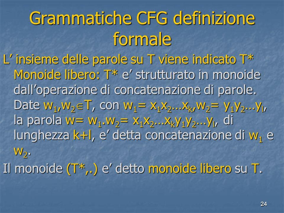 24 Grammatiche CFG definizione formale L insieme delle parole su T viene indicato T* Monoide libero: T* e strutturato in monoide dalloperazione di concatenazione di parole.