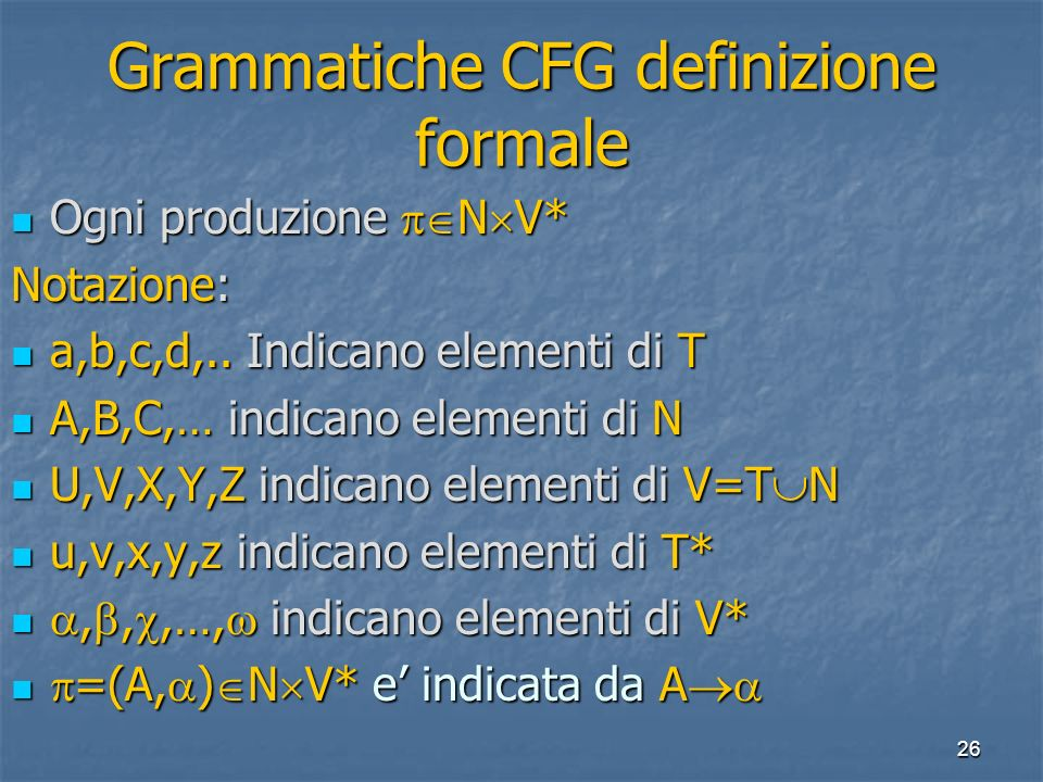 26 Grammatiche CFG definizione formale Ogni produzione N V* Ogni produzione N V* Notazione: a,b,c,d,..