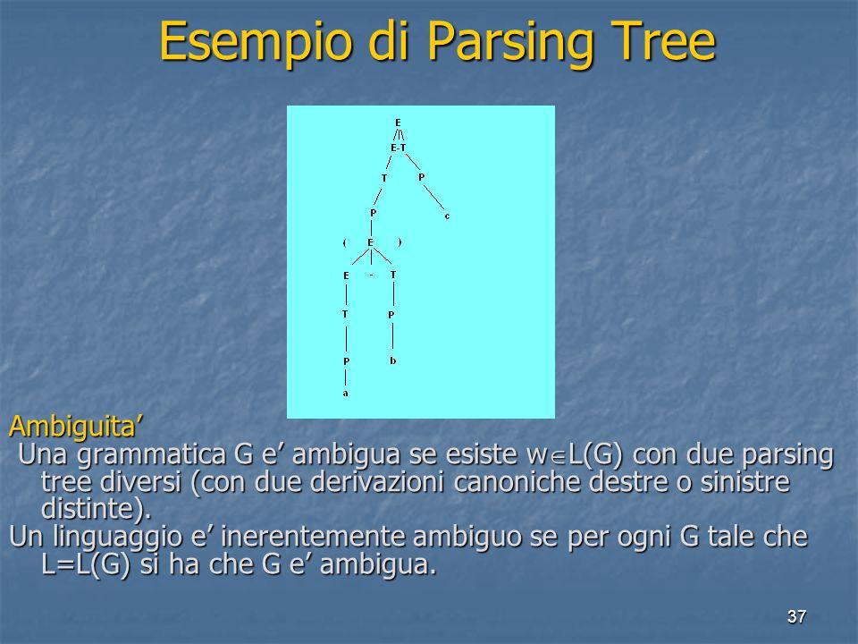 37 Esempio di Parsing Tree Esempio di Parsing TreeAmbiguita Una grammatica G e ambigua se esiste w L(G) con due parsing tree diversi (con due derivazioni canoniche destre o sinistre distinte).