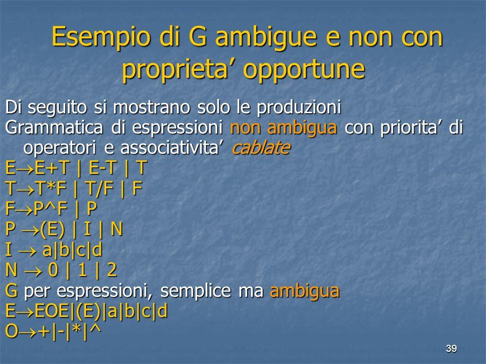 39 Esempio di G ambigue e non con proprieta opportune Esempio di G ambigue e non con proprieta opportune Di seguito si mostrano solo le produzioni Grammatica di espressioni non ambigua con priorita di operatori e associativita cablate E E+T | E-T | T T T*F | T/F | F F P^F | P P (E) | I | N I a|b|c|d N 0 | 1 | 2 G per espressioni, semplice ma ambigua E EOE|(E)|a|b|c|d O +|-|*|^
