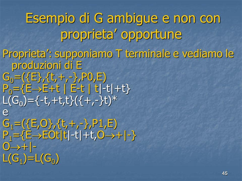 45 Esempio di G ambigue e non con proprieta opportune Esempio di G ambigue e non con proprieta opportune Proprieta: supponiamo T terminale e vediamo le produzioni di E G 0 =({E},{t,+,-},P0,E) P 0 ={E E+t | E-t | t|-t|+t} L(G 0 )={-t,+t,t}({+,-}t)* e G 1 =({E,O},{t,+,-},P1,E) P 1 ={E EOt|t|-t|+t,O +|-} O +|- L(G 1 )=L(G 0 )