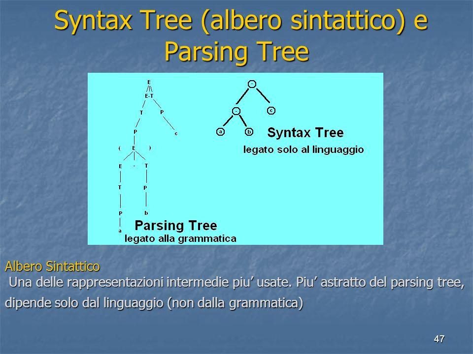 47 Syntax Tree (albero sintattico) e Parsing Tree Syntax Tree (albero sintattico) e Parsing Tree Albero Sintattico Una delle rappresentazioni intermedie piu usate.
