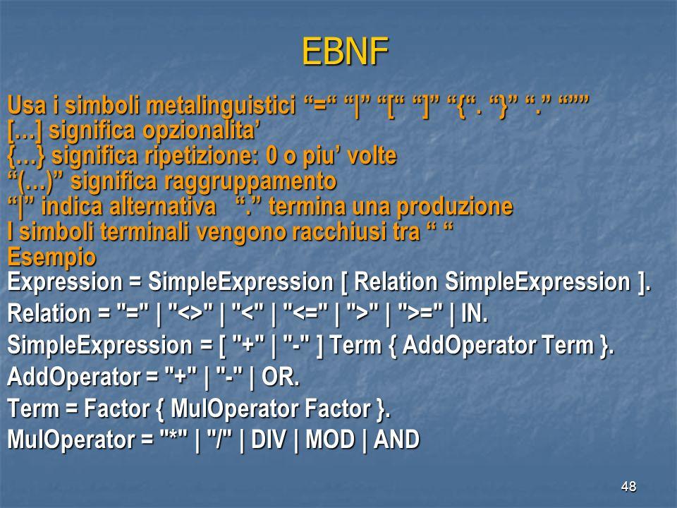 48 EBNF EBNF Usa i simboli metalinguistici = | [ ] {. }. Usa i simboli metalinguistici = | [ ] {. }. […] significa opzionalita {…} significa ripetizio