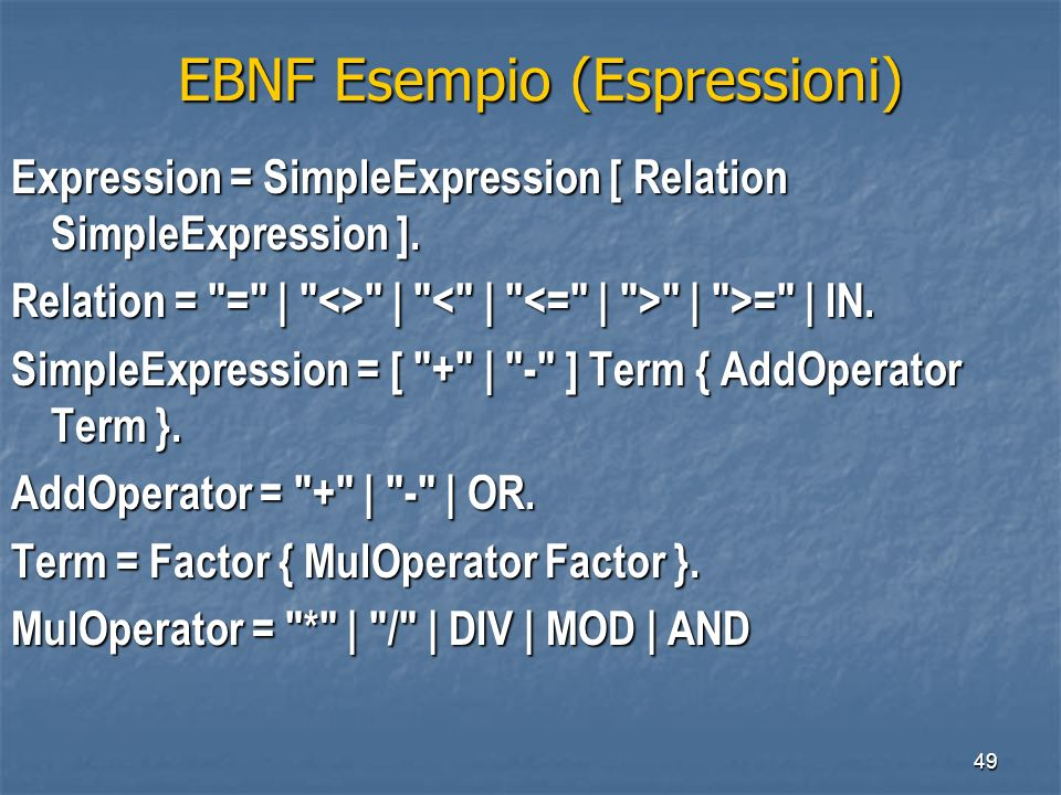 49 EBNF Esempio (Espressioni) EBNF Esempio (Espressioni) Expression = SimpleExpression [ Relation SimpleExpression ].