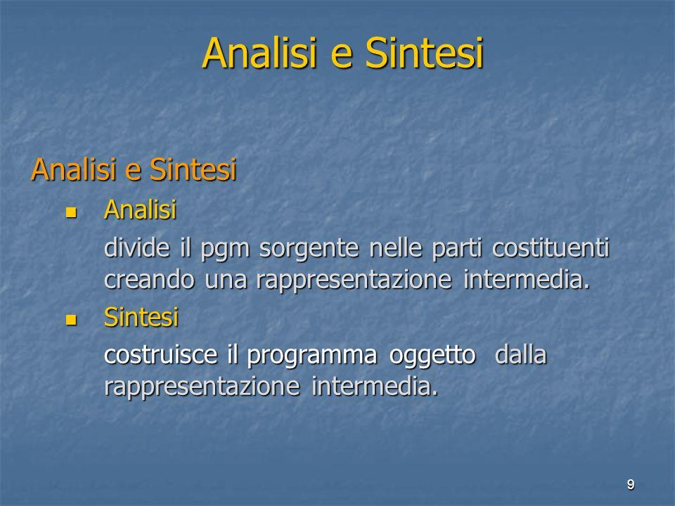 9 Analisi e Sintesi Analisi Analisi divide il pgm sorgente nelle parti costituenti creando una rappresentazione intermedia.