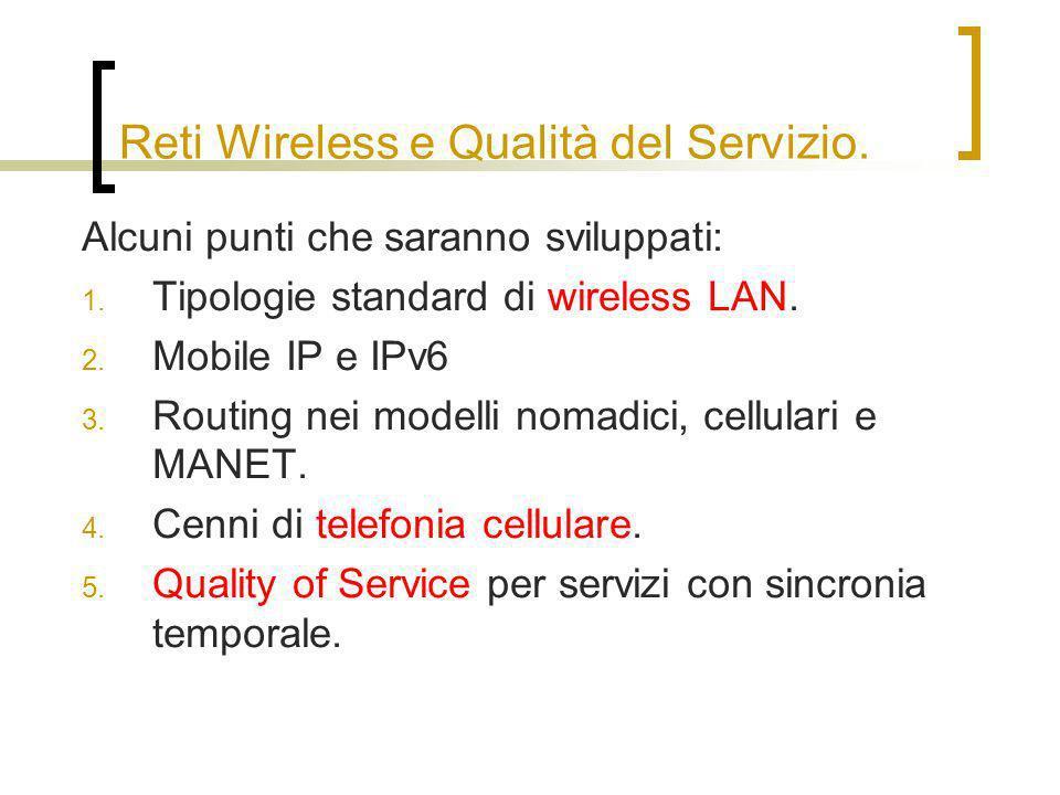 Reti Wireless e Qualità del Servizio. Alcuni punti che saranno sviluppati: 1.