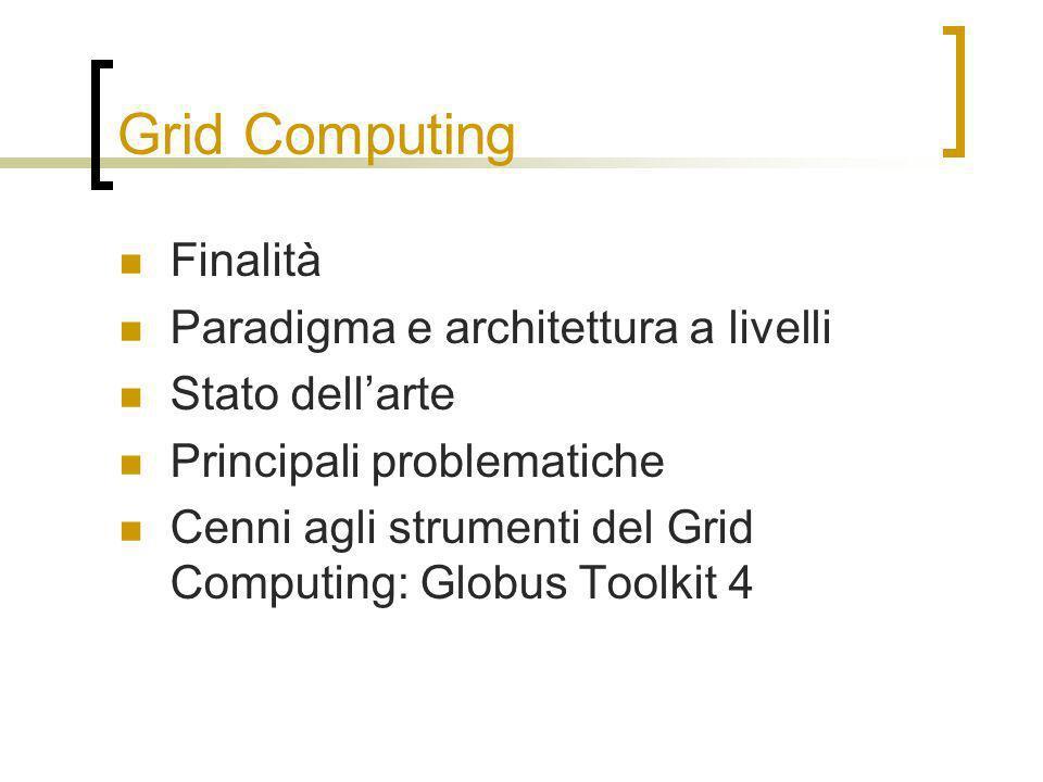 Grid Computing Finalità Paradigma e architettura a livelli Stato dellarte Principali problematiche Cenni agli strumenti del Grid Computing: Globus Toolkit 4