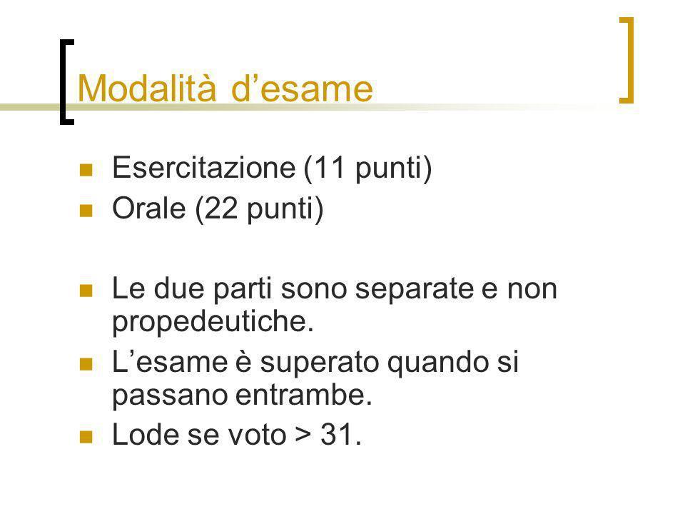 Modalità desame Esercitazione (11 punti) Orale (22 punti) Le due parti sono separate e non propedeutiche.