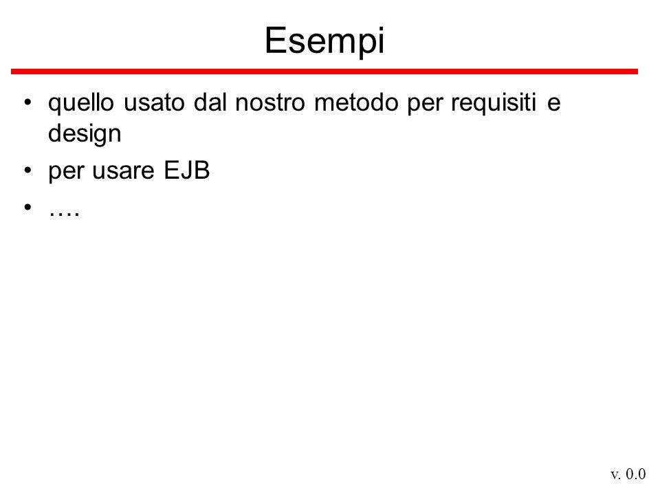 v. 0.0 Esempi quello usato dal nostro metodo per requisiti e design per usare EJB ….