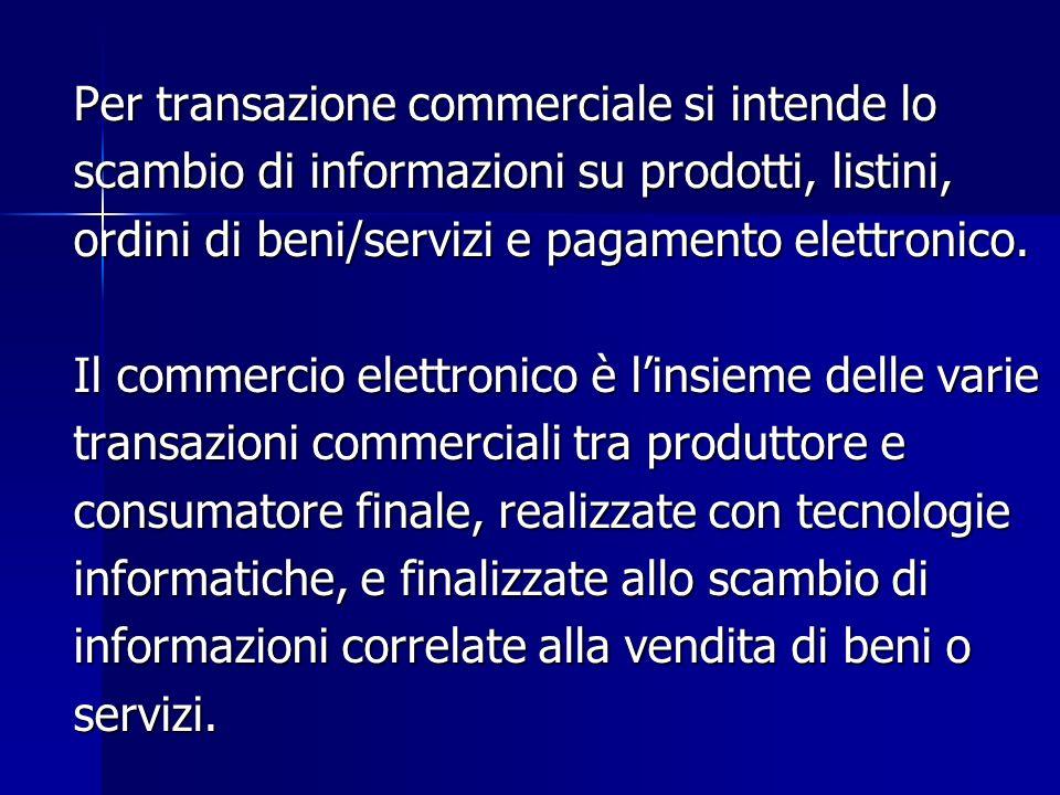 Per transazione commerciale si intende lo scambio di informazioni su prodotti, listini, ordini di beni/servizi e pagamento elettronico.
