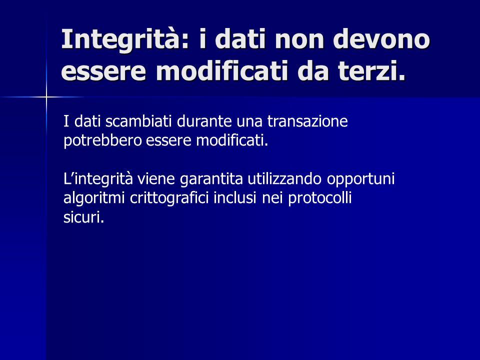 Integrità: i dati non devono essere modificati da terzi.