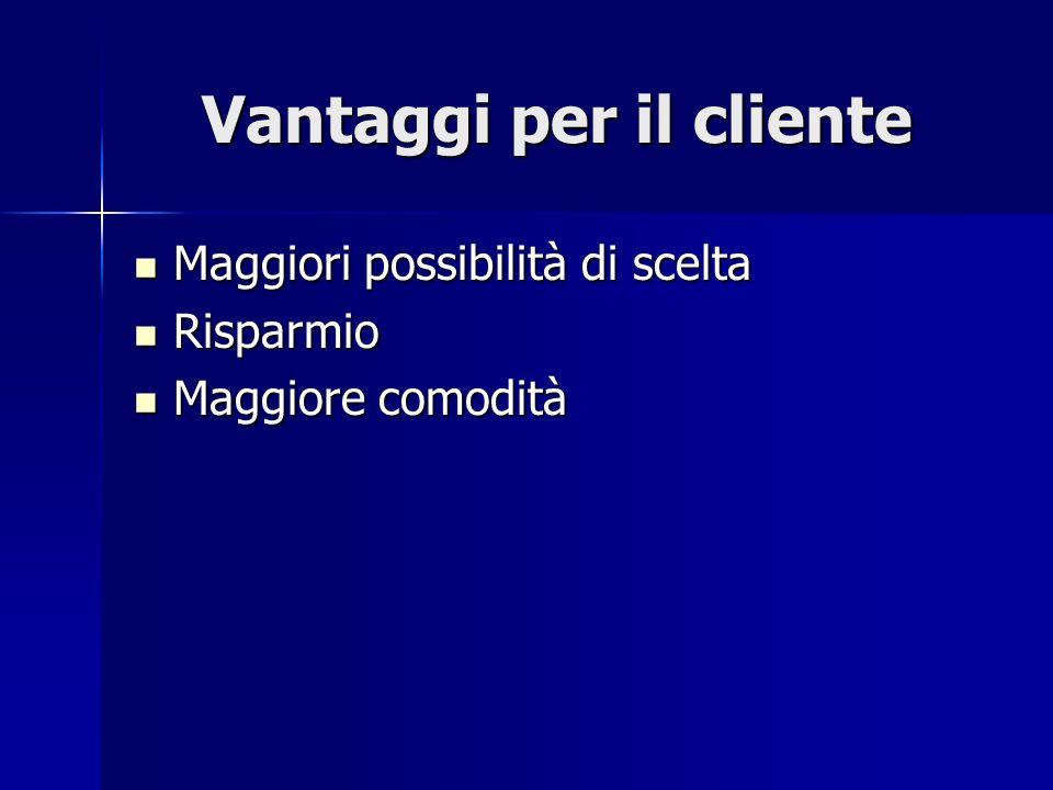 Vantaggi per il cliente Maggiori possibilità di scelta Maggiori possibilità di scelta Risparmio Risparmio Maggiore comodità Maggiore comodità