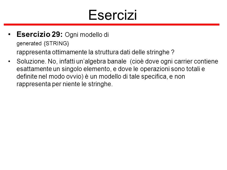 Esercizi Esercizio 29: Ogni modello di generated {STRING} rappresenta ottimamente la struttura dati delle stringhe .