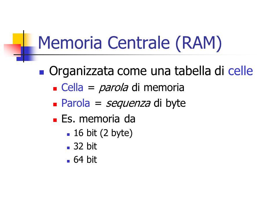 Memoria Centrale (RAM) Organizzata come una tabella di celle Cella = parola di memoria Parola = sequenza di byte Es. memoria da 16 bit (2 byte) 32 bit