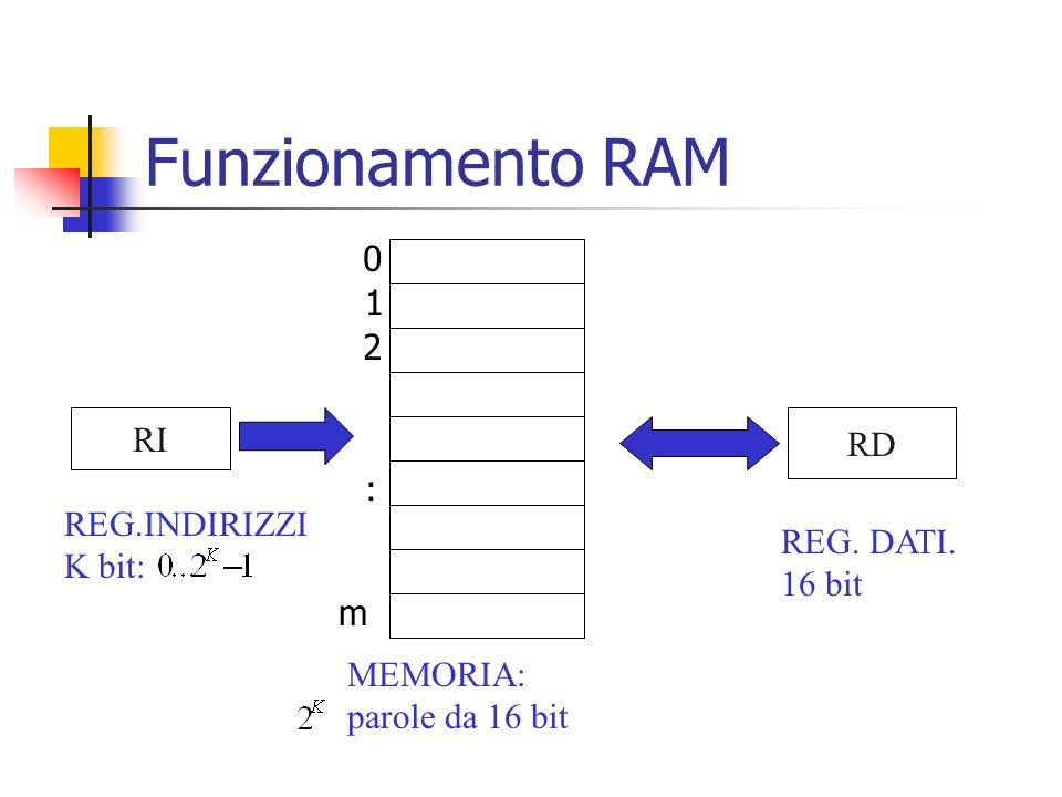 Funzionamento RAM RI RD MEMORIA: parole da 16 bit REG.INDIRIZZI K bit: REG. DATI. 16 bit 0 1 2 : m