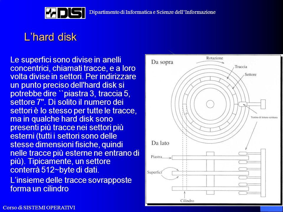 Corso di SISTEMI OPERATIVI Dipartimento di Informatica e Scienze dellInformazione Lhard disk Le superfici sono divise in anelli concentrici, chiamati tracce, e a loro volta divise in settori.