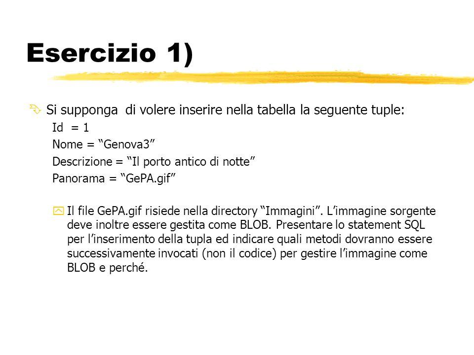 Esercizio 1) ÊSi supponga di volere inserire nella tabella la seguente tuple: Id = 1 Nome = Genova3 Descrizione = Il porto antico di notte Panorama = GePA.gif yIl file GePA.gif risiede nella directory Immagini.