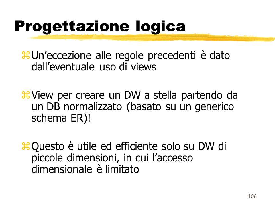 107 Progettazione logica DW concreto DB DW RDBMS MDD trasformazione fisica DB DW RDBMS trasformazione come vista SQL DW virtuale