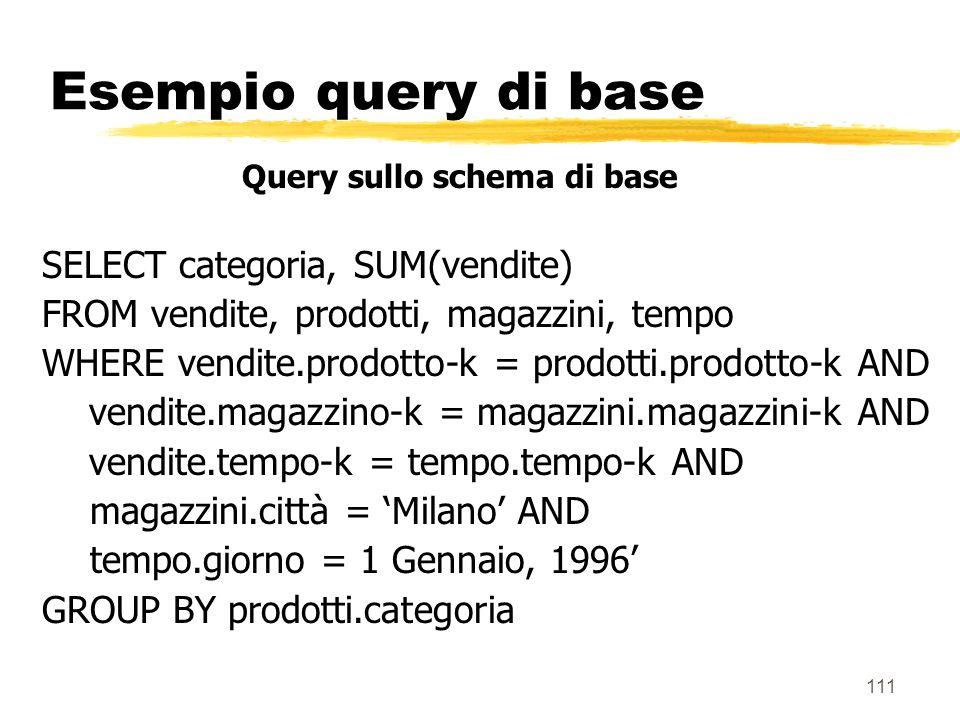 112 Esempio query aggregata zSi supponga adesso che esista una tabella aggregata per categoria vendite-aggreg-per-cat(categoria-k, magazzino-k,tempo-k, vendite)