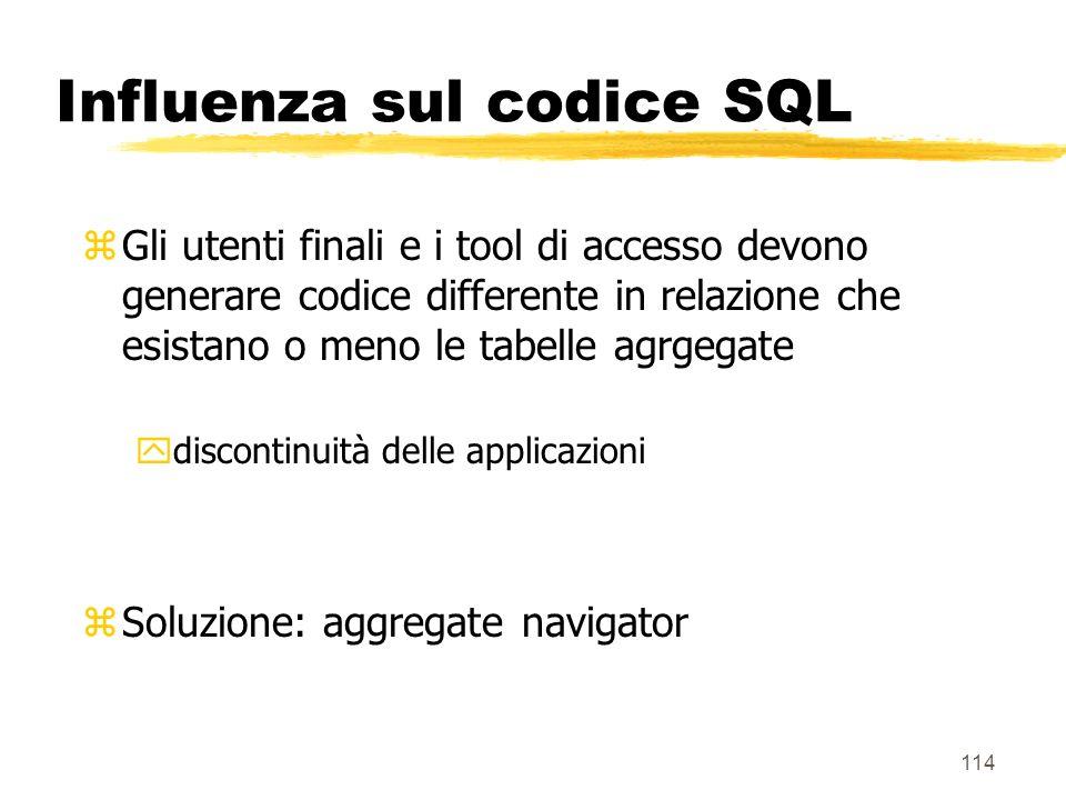 115 Aggregate navigator zLivello software il cui obiettivo è quello di intercettare le richieste SQL e tradurle utilizzando nel modo migliore le tabelle aggregate ysi scelgono le più piccole zle richieste SQL si assumono utilizzare le tabelle di base zsi rende trasparente luso degli aggregati allutente finale