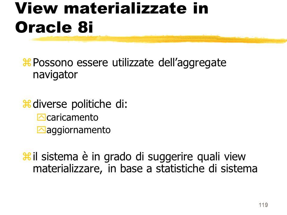 120 View materializzate in Oracle 8i zCaricamento: Immediate : allatto della definizione (default) Deferred : popolata alla successiva operazione di refresh (che deve essere completo)