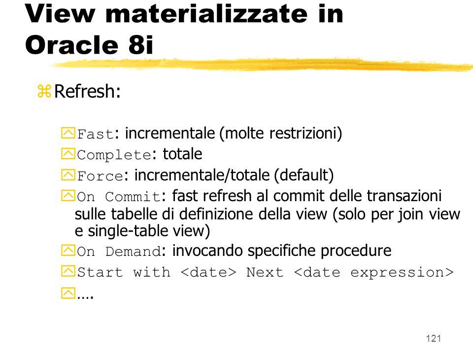 122 View materializzate in Oracle 8i For update : yse specificato, permette di aggiornare la view e di propagare laggiornamento alle tabelle di base zQuery Rewrite: Enable : utilizzata dallaggregate navigator in fase di riscrittura delle query