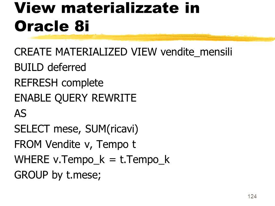 125 Dimensioni in Oracle 8i zOggetti che permettono di descrivere gerarchie esistenti allinterno delle tabelle zvengono utilizzate per: y riscrivere le query ysuggerire la creazione di view materializzate znon contengono nuovi dati ma specificano: ygli attributi coinvolti nelle gerarchie (livelli) yle gerarchie (anche >= 1 per una stessa tabella) ydipendenze funzionali tra livelli ed altri attributi delle tabelle sottostanti zpossono anche coinvolgere più di una tabella (non le vediamo)