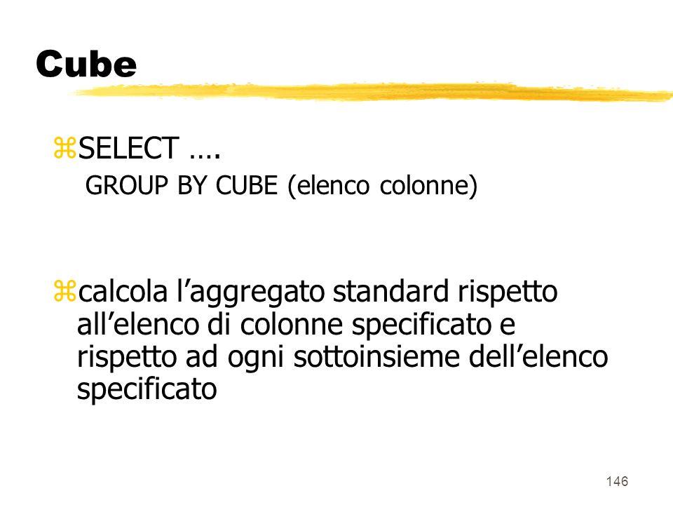 147 Cube zEsempio: SELECT città, mese, prodotto, SUM(vendite) FROM Vendite v, Magazzini m, Tempo t, Prodotti p WHERE m.Magazzino_k = v.Magazzino_k AND p.Prodotto_k = v.Prodotto_k AND t.Tempo_k = v.Tempo_k GROUP BY CUBE(città,mese,prodotto)