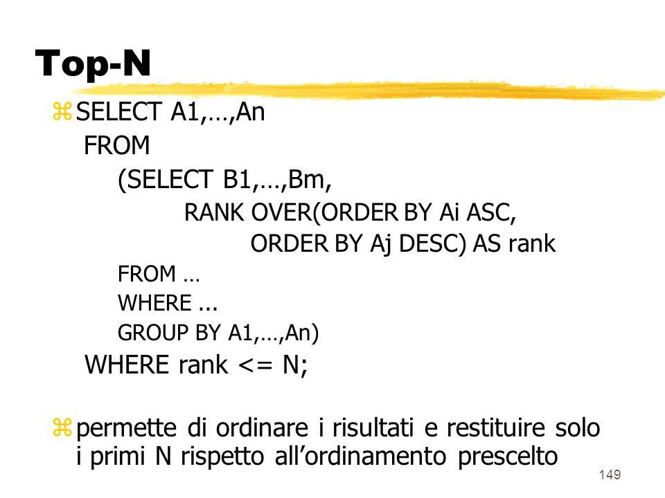 150 Top-N zEsempio : SELECT città, mese, prodotto, sum_vendite FROM (SELECT città,mese,prodotto, SUM(vendite), RANK() OVER (ORDER by SUM(vendite) DESC) AS rank FROM Vendite v, Magazzini m, Tempo t, Prodotti p WHERE m.Magazzino_k = v.Magazzino_k AND p.Prodotto_k = v.Prodotto_k AND t.Tempo_k = v.Tempo_k GROUP BY (città,mese,prodotto)) WHERE rank <= 3;