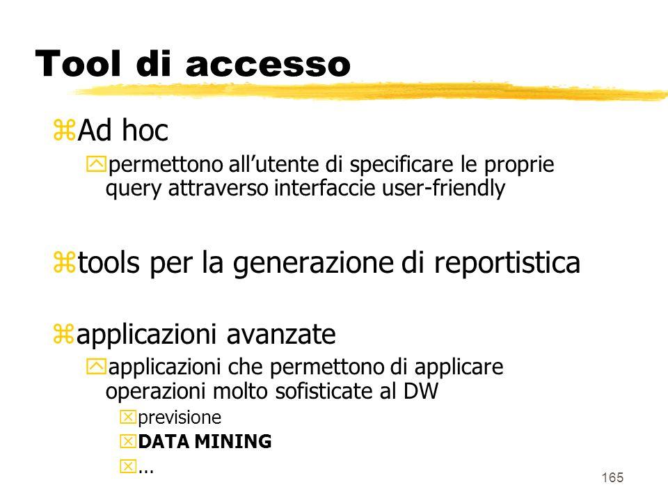 166 Tool di accesso DBMS Traduzione in SQL Presentazione ODBC, JDBC Aggregate navigator