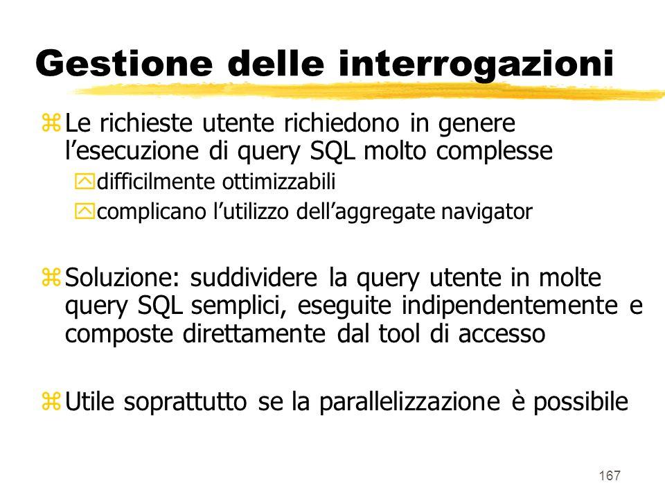 168 Gestione delle interrogazioni SQL1SQL2...SQLn DW Tool di accesso R1R2 … Rn