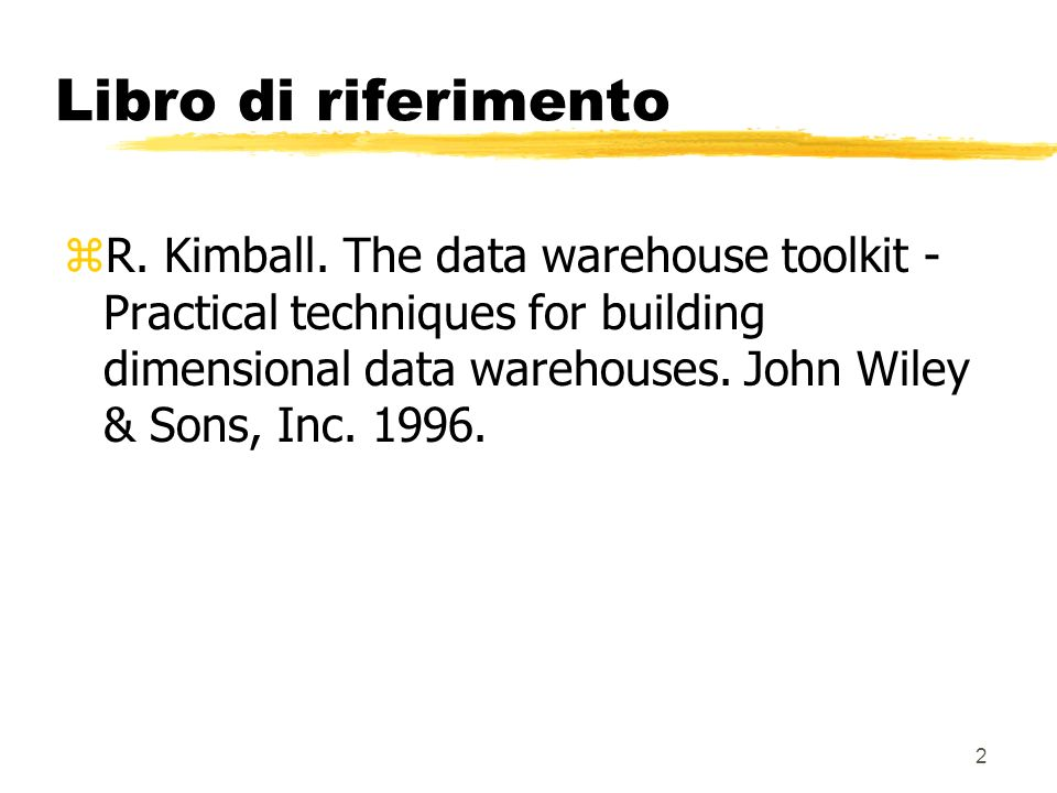 3 Introduzione al data warehousing