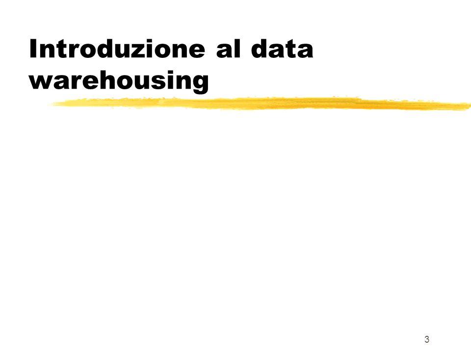 4 In genere: abbondanza di dati ma anche abbondanza di ridondanza ed inconsistenza che non permette di utilizzare i dati in modo utile a fini decisionali DB4 Il problema DB1 DB3 DB2