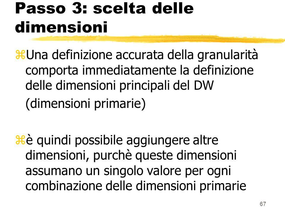 68 Passo 3: scelta delle dimensioni zEsempio: nel nostro esempio, le dimensioni primarie sono: ytempo yprodotti ymagazzini dimensioni aggiuntive ypromozioni