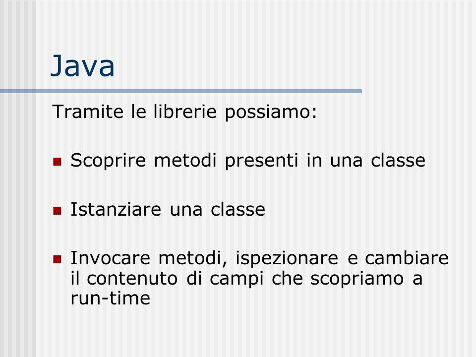 Java Tramite le librerie possiamo: Scoprire metodi presenti in una classe Istanziare una classe Invocare metodi, ispezionare e cambiare il contenuto d
