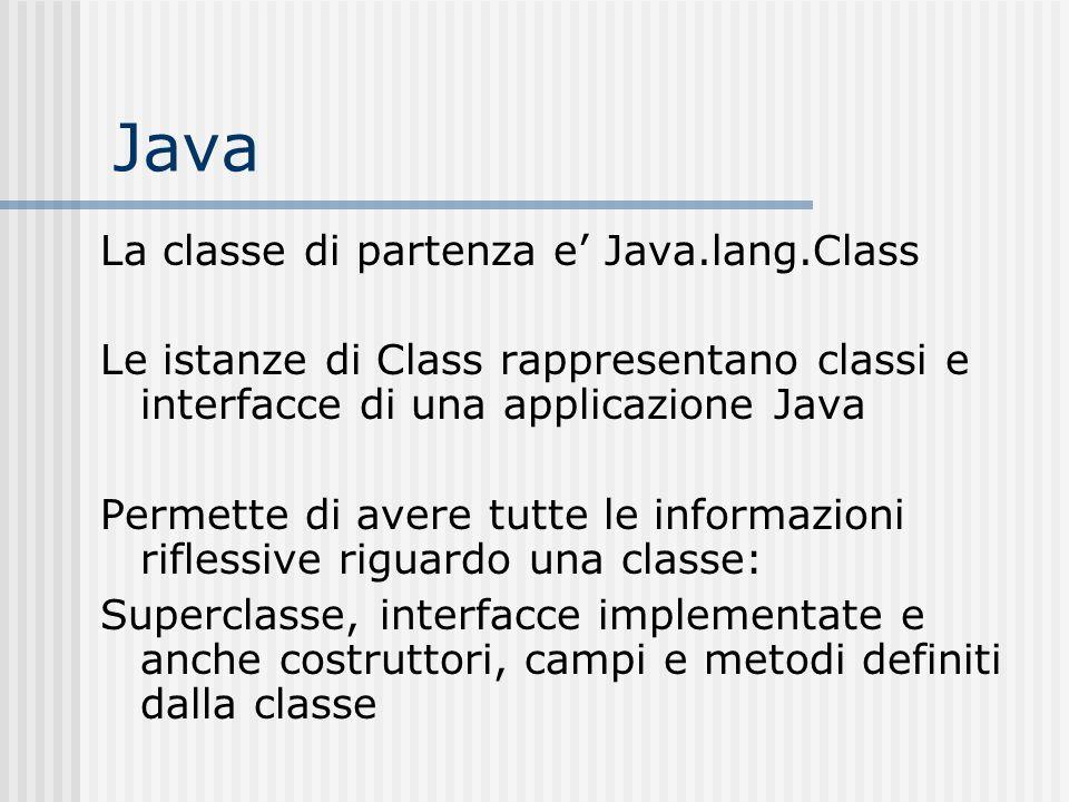 Java La classe di partenza e Java.lang.Class Le istanze di Class rappresentano classi e interfacce di una applicazione Java Permette di avere tutte le