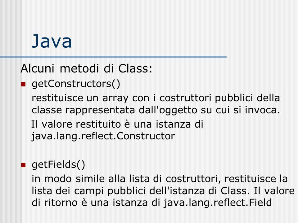 Java Alcuni metodi di Class: getConstructors() restituisce un array con i costruttori pubblici della classe rappresentata dall'oggetto su cui si invoc