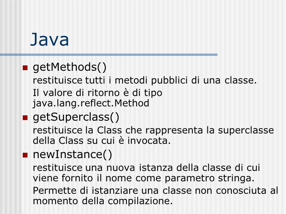 Java getMethods() restituisce tutti i metodi pubblici di una classe. Il valore di ritorno è di tipo java.lang.reflect.Method getSuperclass() restituis