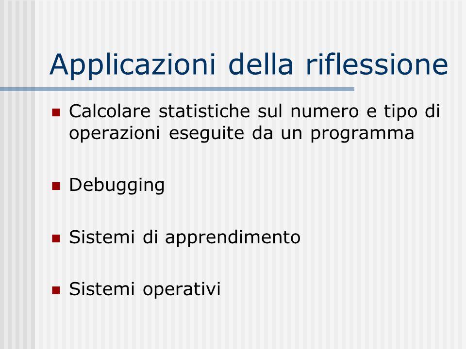 Applicazioni della riflessione Calcolare statistiche sul numero e tipo di operazioni eseguite da un programma Debugging Sistemi di apprendimento Siste