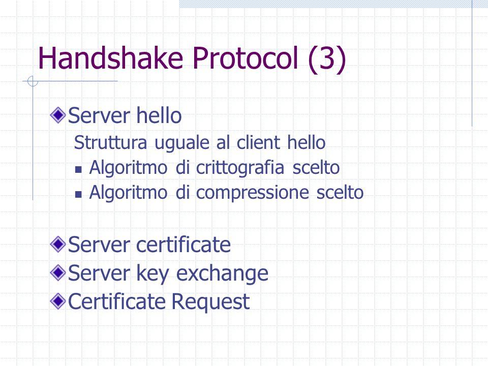 Handshake Protocol (3) Server hello Struttura uguale al client hello Algoritmo di crittografia scelto Algoritmo di compressione scelto Server certificate Server key exchange Certificate Request
