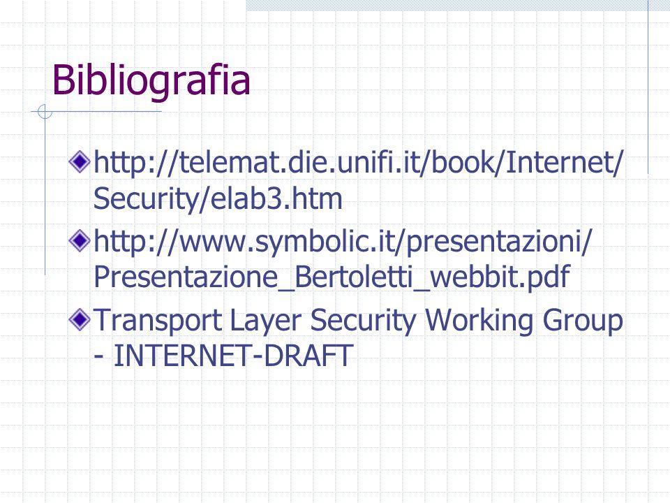 Bibliografia http://telemat.die.unifi.it/book/Internet/ Security/elab3.htm http://www.symbolic.it/presentazioni/ Presentazione_Bertoletti_webbit.pdf T