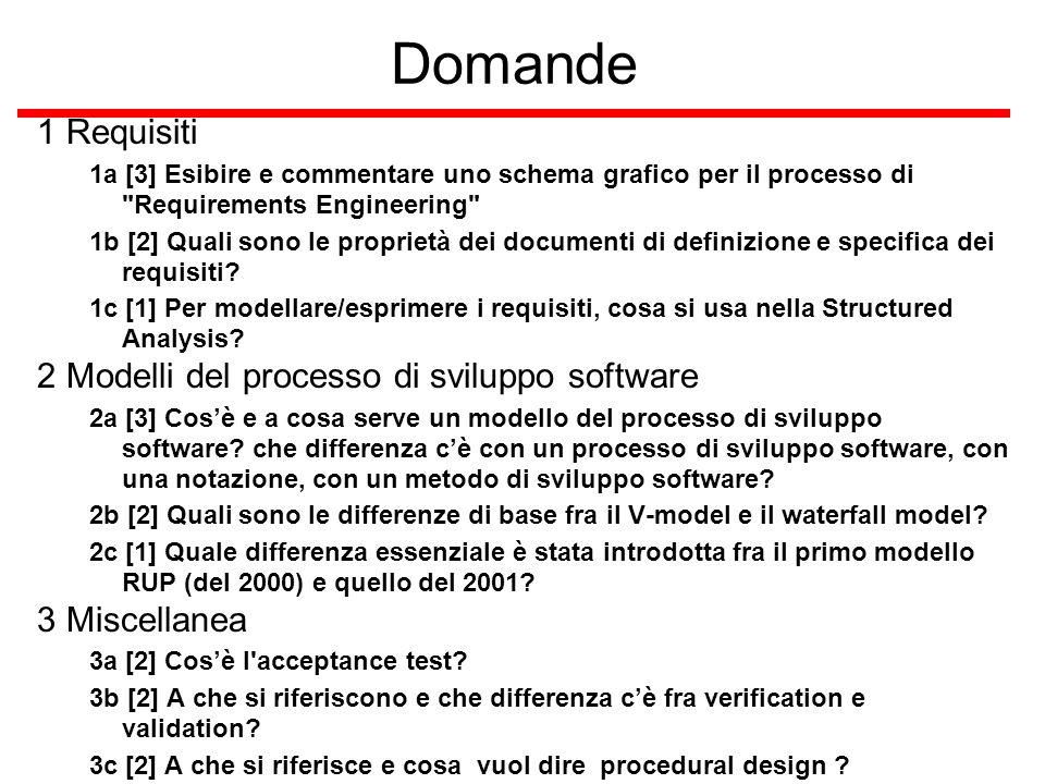 Domande 1 Requisiti 1a [3] Esibire e commentare uno schema grafico per il processo di Requirements Engineering 1b [2] Quali sono le proprietà dei documenti di definizione e specifica dei requisiti.