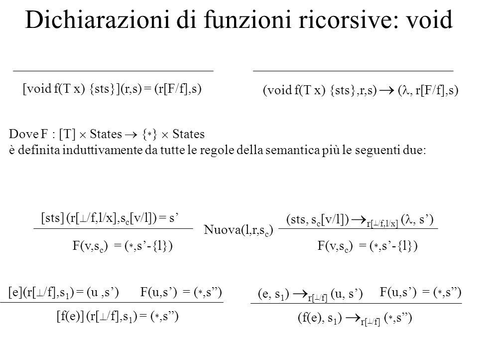 Dichiarazioni di funzioni ricorsive: void Dove F : [T] States { * } States è definita induttivamente da tutte le regole della semantica più le seguent