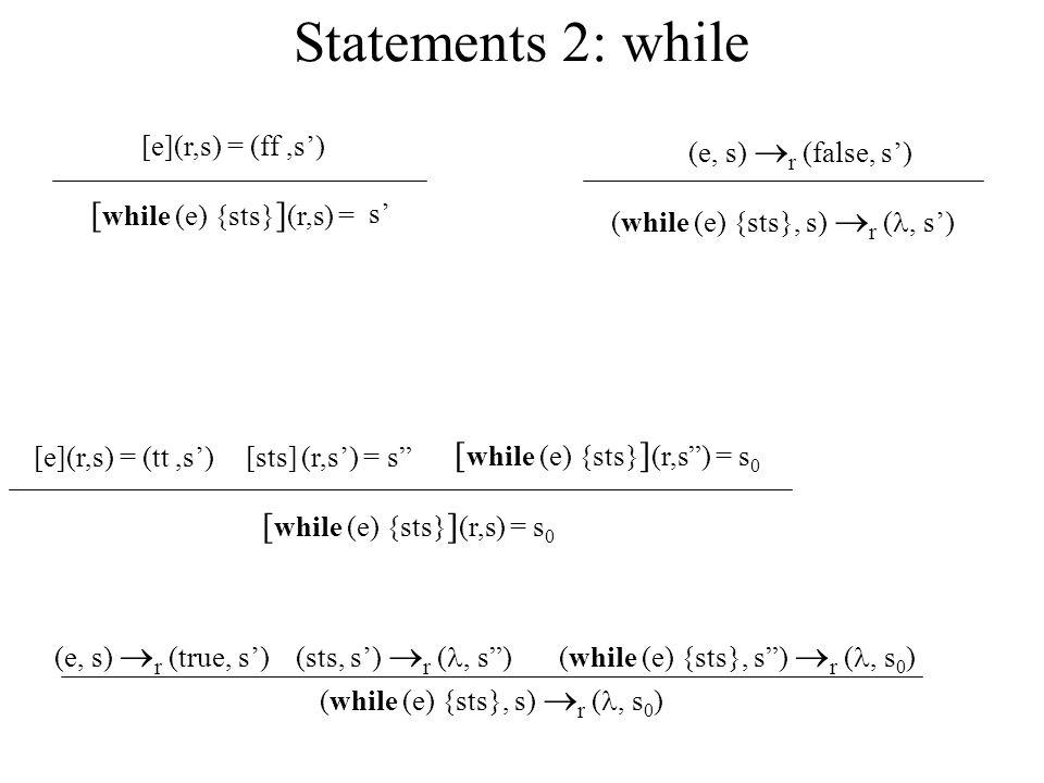 Statements 2: while [ while (e) {sts} ] (r,s) = s 0 [e](r,s) = (tt,s)[sts] (r,s) = s [ while (e) {sts} ] (r,s) = s 0 [ while (e) {sts} ] (r,s) = [e](r