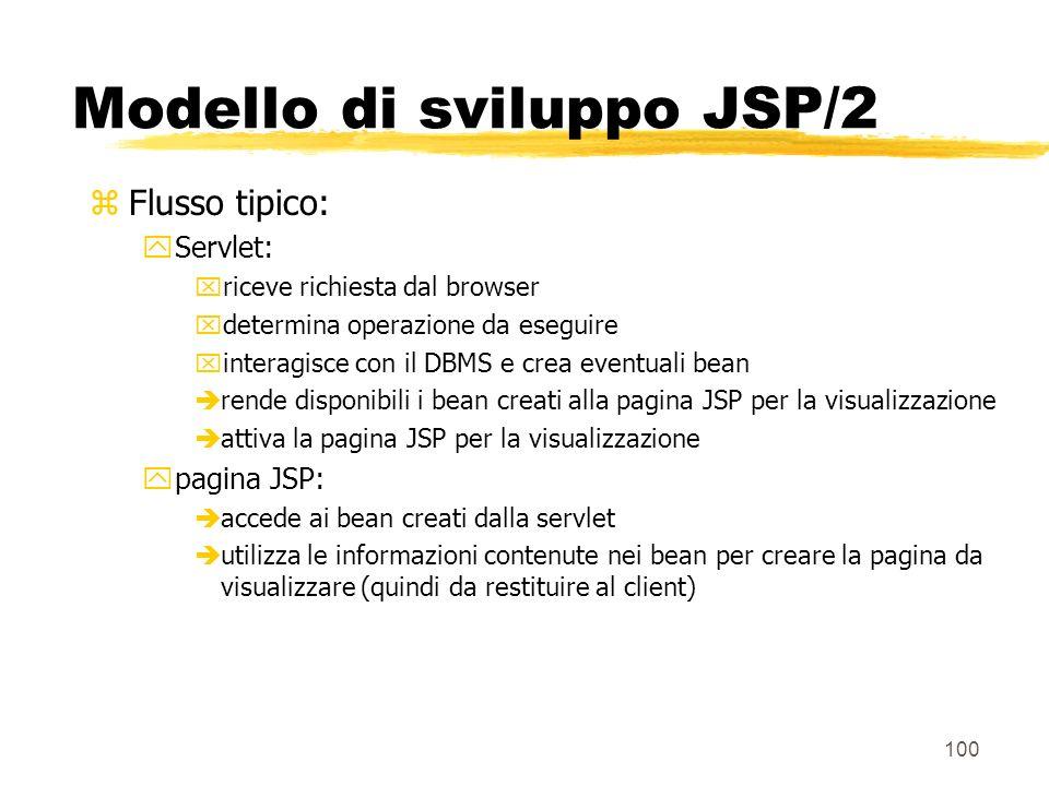 100 Modello di sviluppo JSP/2 zFlusso tipico: yServlet: xriceve richiesta dal browser xdetermina operazione da eseguire xinteragisce con il DBMS e cre