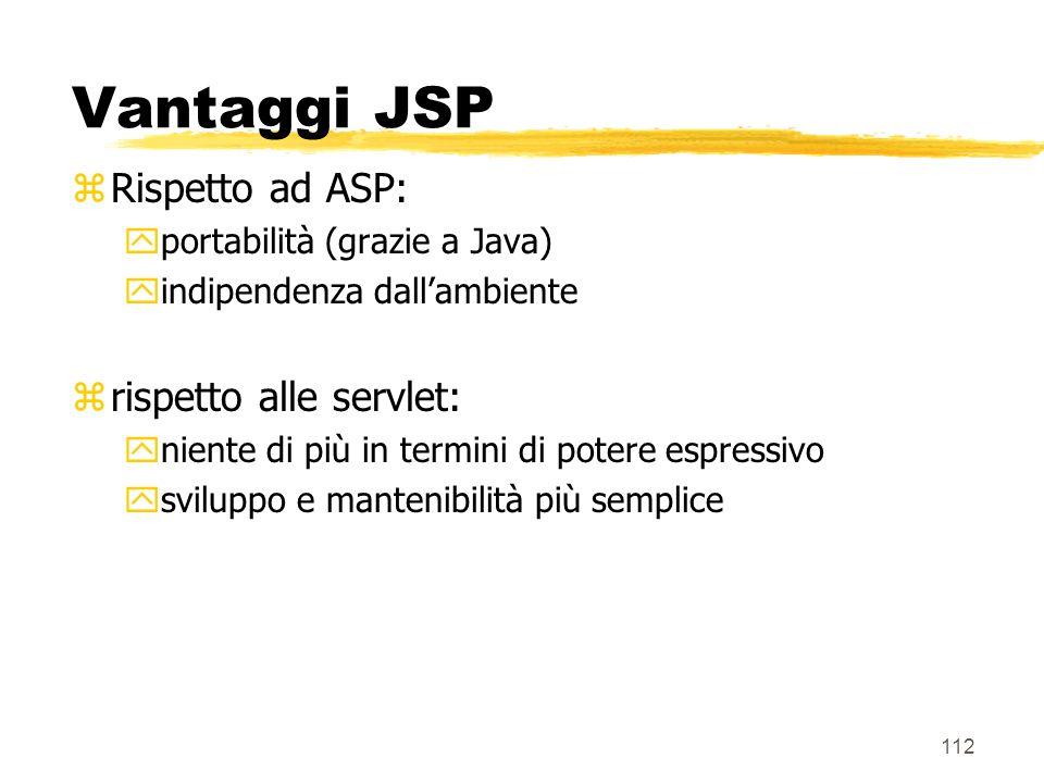 112 Vantaggi JSP zRispetto ad ASP: yportabilità (grazie a Java) yindipendenza dallambiente zrispetto alle servlet: yniente di più in termini di potere