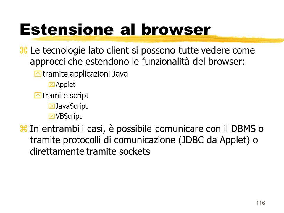 116 Estensione al browser zLe tecnologie lato client si possono tutte vedere come approcci che estendono le funzionalità del browser: ytramite applica