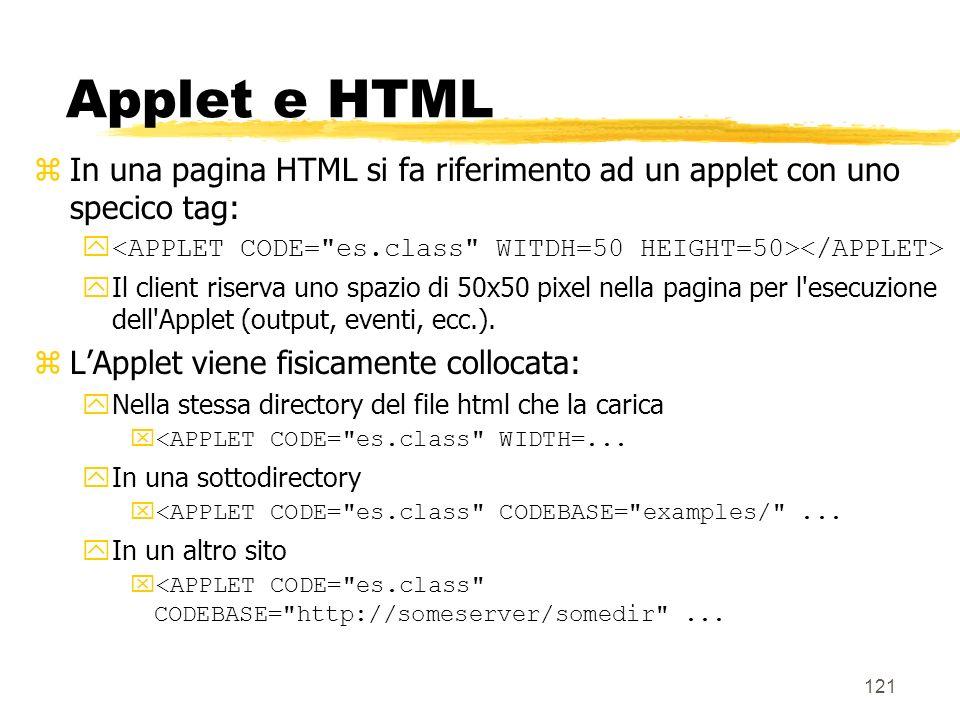 121 Applet e HTML zIn una pagina HTML si fa riferimento ad un applet con uno specico tag: y yIl client riserva uno spazio di 50x50 pixel nella pagina